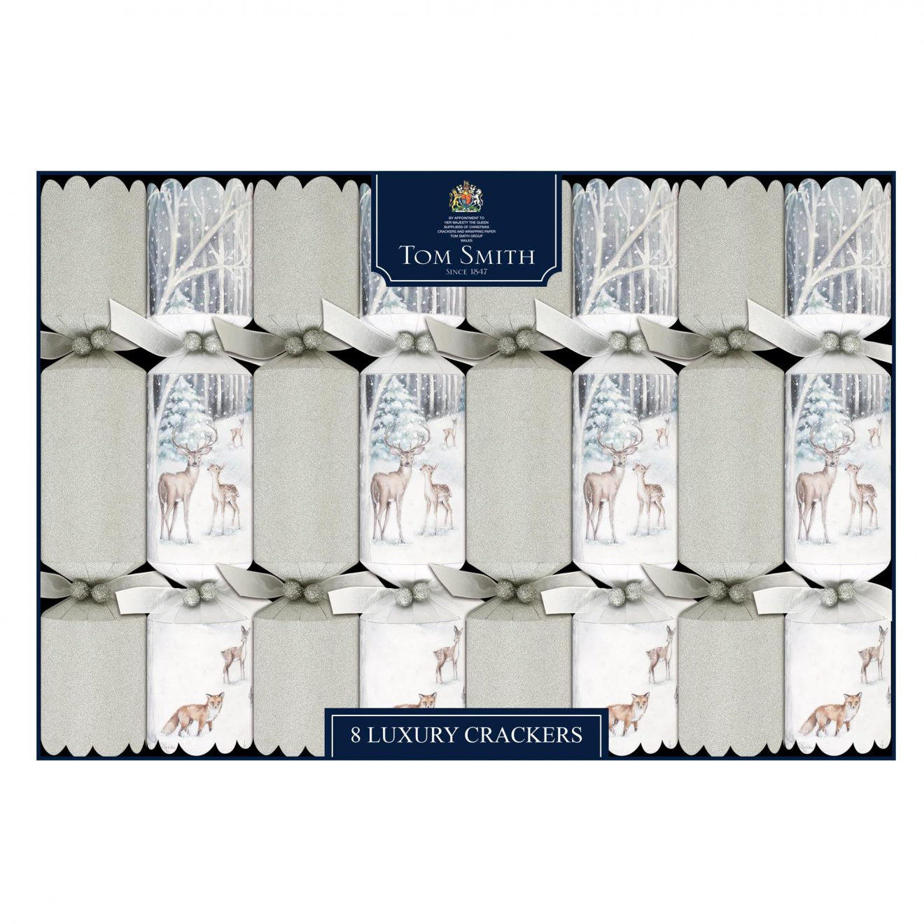 Tom Smith Luxury Crackers Moonlight Forest Glitter Finish 8 pack